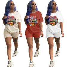 Spring & Summer Women Short Sleeves Print Jumpsuit Short Pants Set Outfits 2pcs