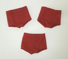 Vintage Ken ORIGINAL PLAIN RED KNIT SHORTS (3) For Flocked Hair *Xlnt