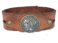 Authentic Cincuenta centavos Mexican coin Bison leather customize cuff bracelet