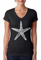 Sea Star White V-NECK WOMEN T-Shirt Nautical Ocean Beach Starfish Ladies Shirt