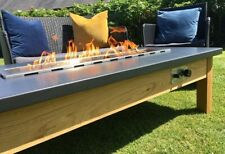 Fire pit. Welsh slate and oak fire pit table. Fire pit table.