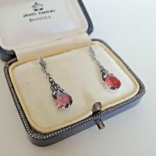 Sterling Silver Garnet and Marcasite Drop Earrings