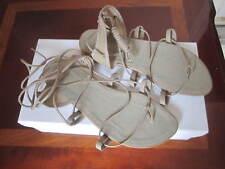 Danshuz shoe sandals leather/fabrics lace up tan new size 6M