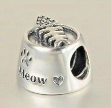 Cat Food Bowl Paw Print Charm Bead 925 Sterling Silver