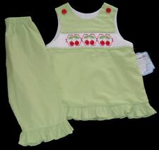 NWT Girls REMEMBER NGUYEN Green CHERRY Red Smocked Set 6 Top Pants Outfit NEW