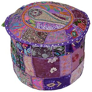 """Indian Round Comfy Ottoman Patchwork Bohemian Pouf Cover Embroidered 16"""" Purple"""