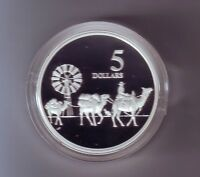 1997 SILVER Proof $5 Coin out Masterpieces Camel Train Wool Bale Carrier Sheep