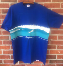 """New listing Mens Crazy Shirts Surfing Tee Shirt Large Blue """"California"""" made in Hawaii EUC"""