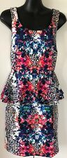 forever new vivienne peplum cocktail party floral animal print dress 8