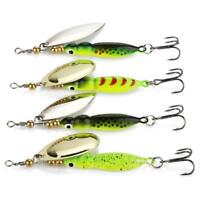 4x Spinner Baits Fishing Lures Spinnerbait 15g/9cm Trout Metal Spoon Willow L0Z1