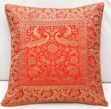 "16"" Indian Handmade Cushion Pillow Cover Orange Silk Brocade Decorative Throw"