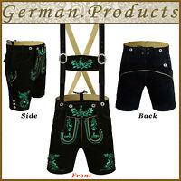 German Bavarian Oktoberfest Trachten Men Shorts Length Lederhosen Outfit Costume