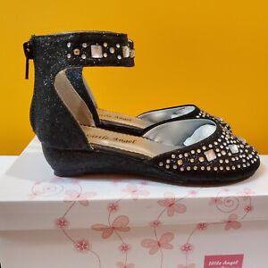 Girl's Size 11 Little Angel Glitter Rhinestone Ankle Strap Wedge Dressy Shoes