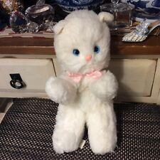 """Rare Gund 1976 Plush Cat Rattle White Blue eyes pink nose & pink bow14"""" Japan"""