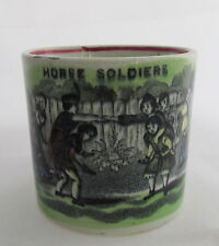 Antique Staffordshire Pottery Non-Abc Childrens Mug Playing Horse Soldiers