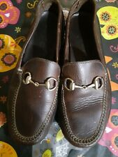 Gucci Italy Men's Brown Leather Horsebit  Loafers Shoes Sz 8.5 M Italian