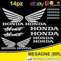 Kit 14pz. adesivi replica Honda Hornet moto casco colore Argento