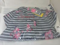 Joules GoLightly Navy Stripe Floral Packaway Jacket Waterproof Mac Coat Size 6