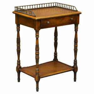 THEODORE ALEXANDER VINTAGE WHATNOT WALNUT SIDE TABLE + LEATHER INLAY