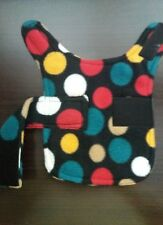 dog coat. fleece jacket .size xxs.  Multi coloured spots