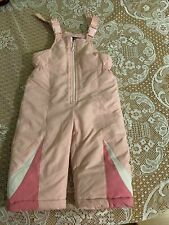 Infant Girls Size 18 Months One Madison Pink Snow Bibs Adjustable Elastic In Leg