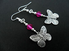 A PAIR TIBETAN SILVER PINK CRYSTAL BEAD DANGLY BUTTERFLY   EARRINGS. NEW.