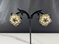 Lovely Vintage Gold-tone Faux Emeralds Sapphire Pearl Clip-on Earrings