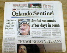 2004 headline newspaper DEATH o YASSER ARAFAT Middle East PALESTINIAN Leader PLO