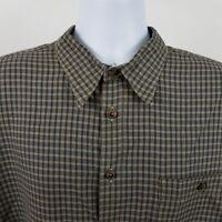 Scott Barber Mens Brown Dark Green Check L/S Dress Button Shirt Sz XL