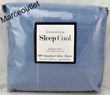 New listing Charter Club Sleep Cool 400 Tc Hygro Egyptian Cotton Queen Sheet Set Denim Sky