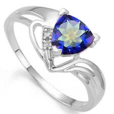 LOVELY 0.65 CTW GENUINE DIAMOND & OCEAN MYSTIC GEMSTONE 925 STERLING SILVER RING