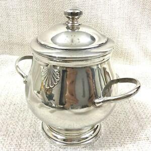 Vintage Christofle Silver Plated Lidded Sugar Bowl Pot Jar Vendome Arcantia