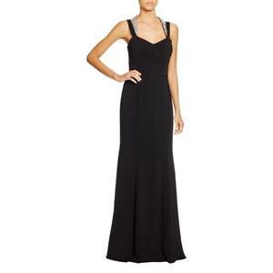 JS BOUTIQUE~Black Crepe Jewel Double Strap Halter Trumpet Formal Gown 4 NEW $284