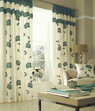 Catherine Lansfield Faux Silk Floral Curtains & Pelmets