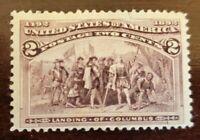 1893 US Stamps Scott # 231, Landing of Columbus, Mint, OG, Hinged - Small Tear