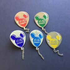 DLR - 45th Anniversary Balloon Series 5 Pin Set Blue Red Green Disney Pin 1851