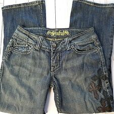Sinful Women's Jeans 27/34 Medium Wash Distressed Leather Crosses Jewels Flare