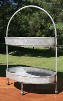 Galvanized Tin Metal Primitive Two-Tier Tray Stand