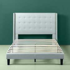 Queen Size Platform Bed With Headboard Upholstered Bedroom Furniture Grey New