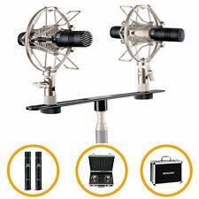 Stereo Kleinmembran Kondensator Studio Mikrofon Pair Schiene Spinne Case Set