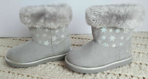 Toddler Girls 5 Casual Boots Grey Disney Frozen Faux Suede/Fur Cozy Lined