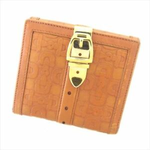 Gucci Wallet Purse Brown leather Woman unisex Authentic Used T8407