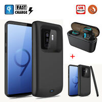 For Samsung Galaxy S8/S9+ Plus Battery Charger Back Case Power Bank +TWS Headset