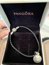 Black Leather Pandora Bracelet With Charm