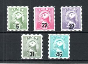 LUNDY: 1990 PROVISIONAL OVERPRINTS SET UNMOUNTED MINT