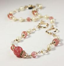 Collier Femme Perle de Quartz Rose Cristal Court Perle en Verre Joli FUN1
