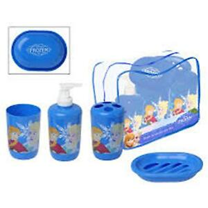 FROZEN Bath Accessories Set- Soap Dish & Dispenser, Cup, Toothbrush Holder, Bag