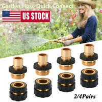 1/2/4 Pairs Garden Water Hose Tap Quick Connect Set Pressure Brass Connectors US