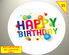 70 NON PERSONALISED Happy Birthday Labels Stickers Gift sweet Cone Bags