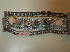 Juicy Couture Chain Strands Bracelet- Designs of Chain, Rhinestones & Ribbons